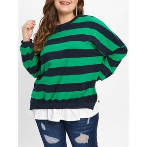 ⭐ Plus Size Striped Layered Look Sweater ⭐